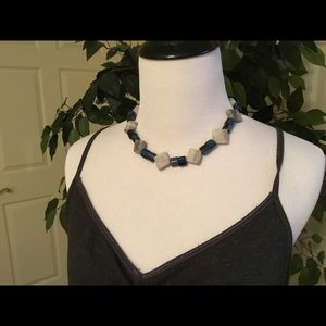 Jewelry - Blue and Gray Marble Necklace & Bracelet